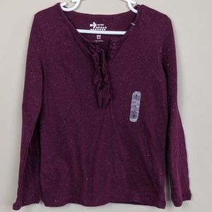 Old Navy Shirts & Tops - Old Navy Sparkley Purple Long Sleeve Girls 6-7 S